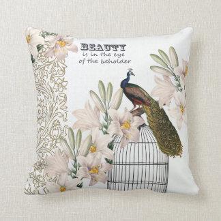 Elegant Lilies Peacock Pillow