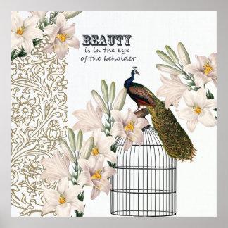 Elegant Lilies Peacock Poster