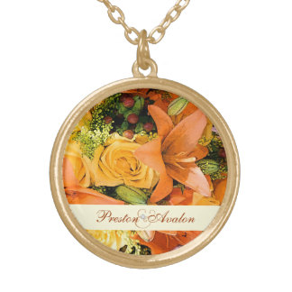 Elegant Lily Floral Gold Chain Wedding  Necklace