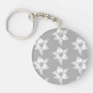 Elegant Lily Pattern. Gray and White. Keychain