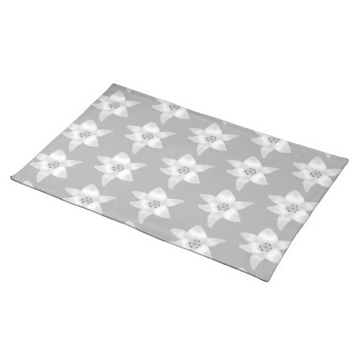 Elegant Lily Pattern. Gray and White. Place Mat