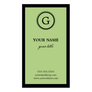 Elegant Lime and Black Monogram Business Card