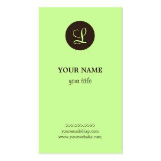 Elegant Lime & Brown Monogram Business Cards