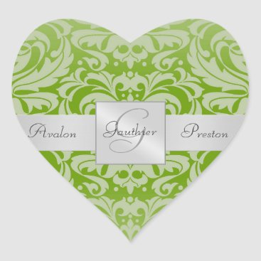 Valentines Themed Elegant Lime Damask Heart Wedding Sticker
