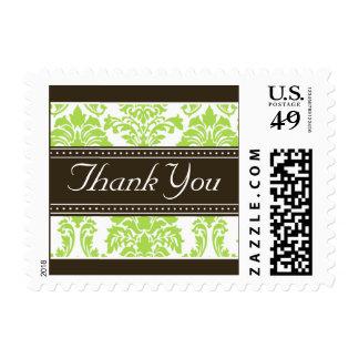 Elegant Lime Damask Ribbon Thank You Stamps