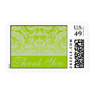 Elegant Lime Damask Thank You Postage Stamp