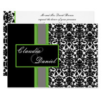 elegant lime damask wedding invitation