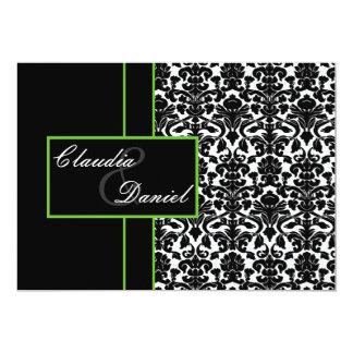 elegant lime damask wedding invitation