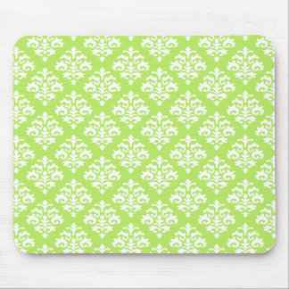 Elegant Lime Green and White Damask Mousepad