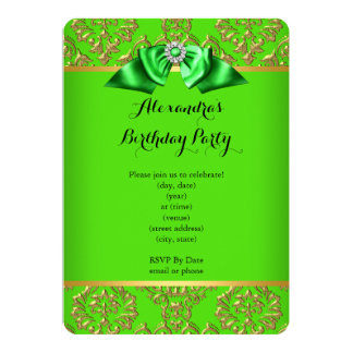 Elegant Lime Green Damask Gold Diamond Bow Party Card