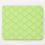 Elegant Lime Green Damask Mousepad