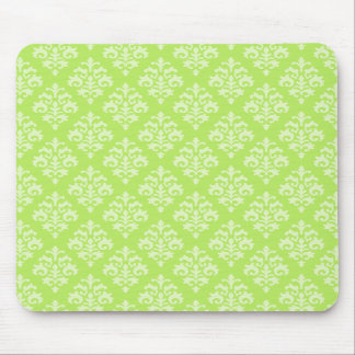 Elegant Lime Green Damask Mousepad