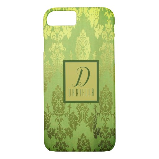 Elegant Lime Green Faux Brocade iPhone Case