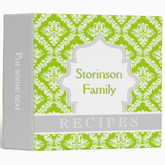 Elegant lime green, grey damask recipe 3 ring binder