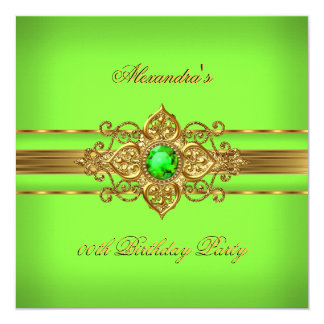 Elegant Lime Green Jewel Gold Birthday Party Card