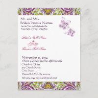 Elegant Lime & Plum Paisley Wedding Invitation