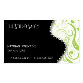 Elegant Lime Swirly Swirl Business Card Template