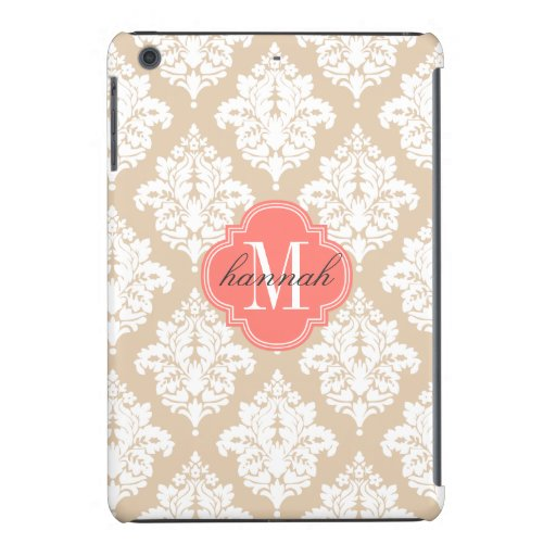Elegant Linen Beige Damask Personalized iPad Mini Cover