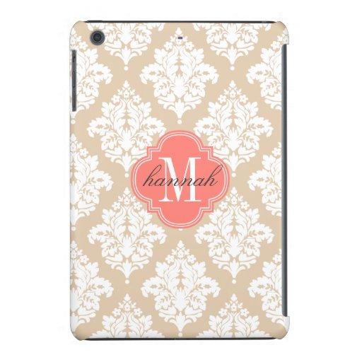 Elegant Linen Beige Damask Personalized iPad Mini Cover