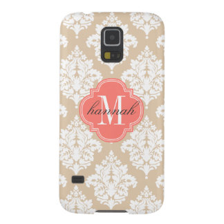 Elegant Linen Beige Damask Personalized Galaxy S5 Covers