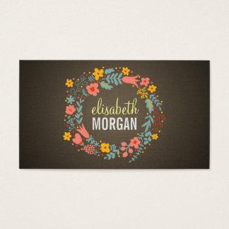Elegant Linen Burlap Floral Wreath Business Card