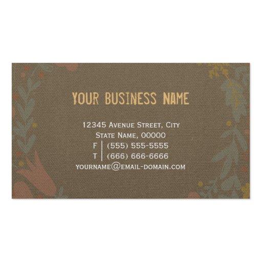 Elegant Linen Burlap with Floral Wreath Business Card Templates (back side)