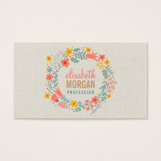 Elegant Linen Burlap with Floral Wreath Business Card