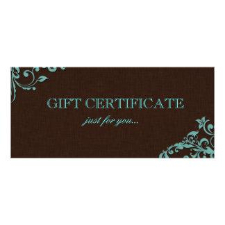 Elegant Linen Flower Salon Gift Certificate Rack Card Design