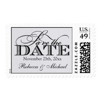 "Elegant ""linen"" Modern Save the Date Postage"