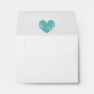 Elegant liner wedding envelopes with vintage heart