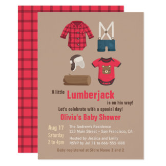 Elegant Little Lumberjack Baby Shower Invitations