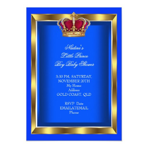 Elegant Little Prince Baby Shower Boy Blue Invites (back side)