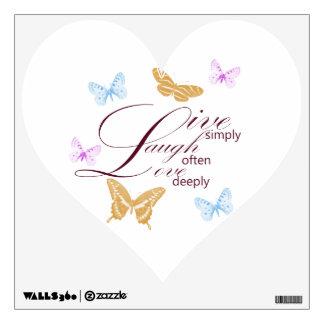 Elegant Live Laugh Love Butterflies Heart Wall Decal