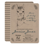 Elegant Llama Girl Baby Shower Rustic Invitation