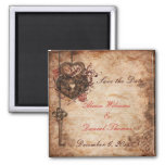Elegant Lock and Key Save the Date Magnet Magnet