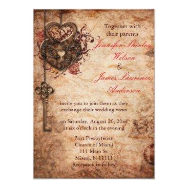 Valentines Themed Elegant Lock and Key Wedding Invitation