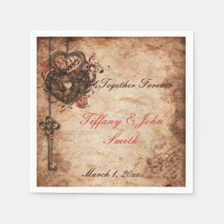 Elegant Lock and Key Wedding Napkins