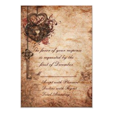 Valentines Themed Elegant Lock and Key Wedding RSVP Card