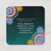 Elegant Logo Yoga Meditation Lotus Flowers Square Business Card