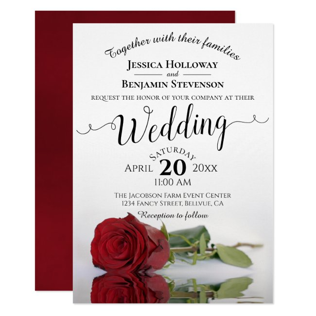 Elegant Long Stemmed Red Rose Romantic Wedding Invitation