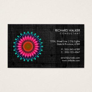 Elegant Lotus Floral Black Wood Health Wellness Business Card