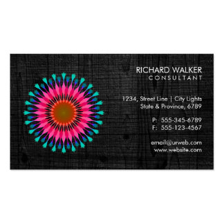 Elegant Lotus Floral Black Wood Health Wellness Double-Sided Standard Business Cards (Pack Of 100)
