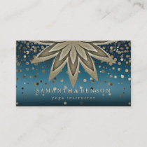 Elegant Lotus Flower Logo Yoga Confetti Business Card