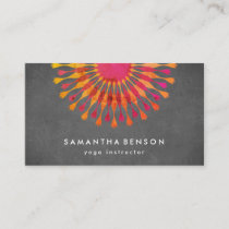 Elegant  Lotus Flower Logo Yoga Instructor Business Card