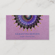 Elegant Lotus Flower Logo Yoga Purple  Background Business Card