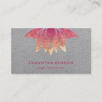 Elegant Lotus Flower Logo Yoga Purple  Background Business Card
