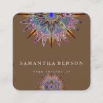 Elegant Lotus Flower Logo Yoga Square Business Card