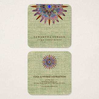 Elegant Lotus Flower Logo Yoga Square Business Card