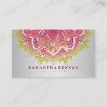 Elegant Lotus Flower Mandala Logo Yoga Instructor Business Card