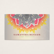 Elegant Lotus Flower Mandala Logo Yoga Instructor Business Card